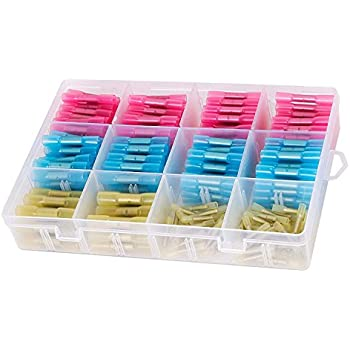 Waterproof Electric Terminals 3 Colors 3 Sizes, 40Red 20Blue 10Yellow 22-10 AWG Waterproof Wire Connectors Crimp Connector Solderless Terminal GTIWUNG 70PCS Heat Shrink Butt Connectors