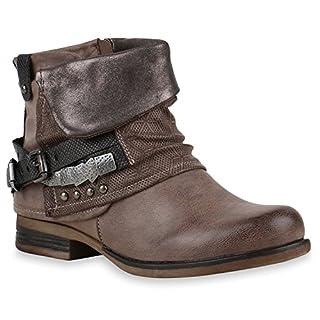 Stiefelparadies Damen Stiefeletten Biker Boots Schnallen Nieten Knöchelhohe Stiefel Leder-Optik Schuhe 120529 Khaki 37 Flandell