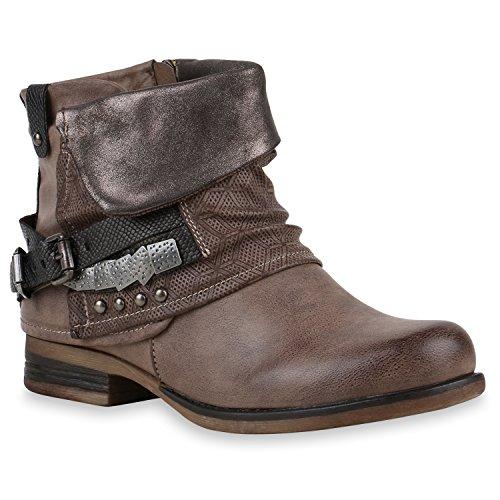 Stiefelparadies Damen Biker Boots Nieten Schnallen Stiefeletten Gr. 36-42 Schuhe 122506 Khaki 39 Flandell