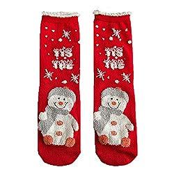 Weihnachten Frau Baumwolle Socken, Quaan Mehrfarbig Damen Winter Baumwolle Kausal nähen Warm Hausschuhe Niedlich Anti-Rutsch Mittel weich gemütlich Licht elastisch Deodorant Schlafsocken