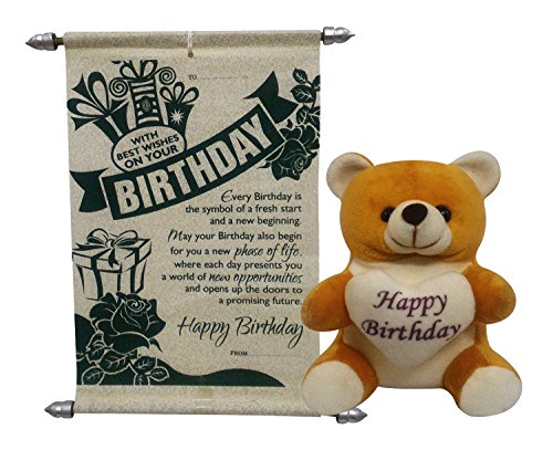 Natali Happy Birthday Teddy With Birthday Scroll Card