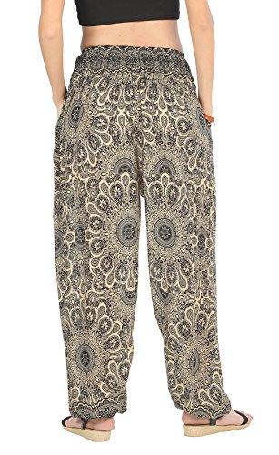 CandyHusky Haremshosen für Frauen Aladin im Hippy, Bohemian, Zigeunerstil für den Sommer am Strand oder als Yogahosen, Einheitsgröße Star Mandala Schwarz
