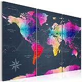 decomonkey   Bilder Weltkarte 120x80 cm   3 Teilig   Leinwandbilder   Bild auf Leinwand   Vlies   Wandbild   Kunstdruck   Wanddeko   Wand   Wohnzimmer   Wanddekoration   Deko   bunt Welt Karte Landkarte Kontinente