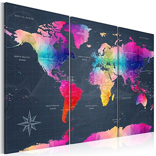 decomonkey Bilder Weltkarte 60x40 cm 3 Teilig Leinwandbilder Bild auf Leinwand Vlies Wandbild Kunstdruck Wanddeko Wand Wohnzimmer Wanddekoration Deko bunt Welt Karte Landkarte Kontinente (Landkarte Welt Auf Leinwand)
