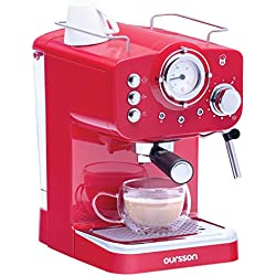 Oursson Machine à expresso pour poudre & Pads, 3 Ans Garantie, Expresso, Cappuccino, Latte, Moka, 15 bars, Rouge, 1,5 litres, EM1500/RD