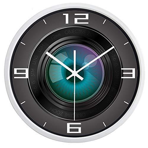 AKJC Orologio Da Paretecreative Photographer Camera Lens Funny Wall Clock, Super Quiet Smooth Glass Clock Men's and Women's Family,10Inch