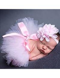 Musuntas apoyo de la fotografía del bebé, traje del bebé, foto del bebé trajes Fotografía traje de la falda del tutú de Pettiskirt de las muchachas venda de la flor (rosa)