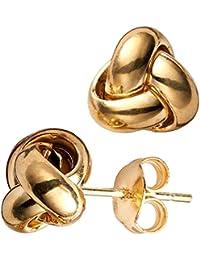 14 k jaune or simple rangée Love Knot Boucles d'oreilles 10 mm