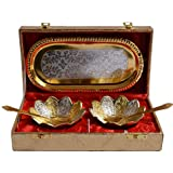 Handicraft Hub India Silver Gold Plated Floral Shape Decorative Tray and Bowl Set for Diwali Gift Set | Set of 5 Items
