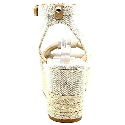 Michael Michael Kors Maxwell Mid Wedge Femmes Toile Sandales Compensés Natural