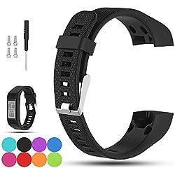 Para Garmin VivoSmart HR + de repuesto reloj banda correa–ifeeker accesorios ajustable suave silicona muñeca banda reloj de pulsera con instalación poste de destornilladores y adaptadores para Garmin Vivosmart HR + GPS Fitness actividad Tracker (no para VivoSmart HR), negro