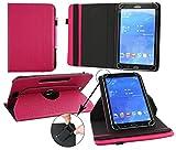 Emartbuy® Blaupunkt Polaris 808 Tablet PC 8 Zoll Universal (7-8 Zoll) GepolsterteDesign Dark Rosa 360GradrotierendeStandFolioGeldbörseTascheHülle + Rosa Eingabestift