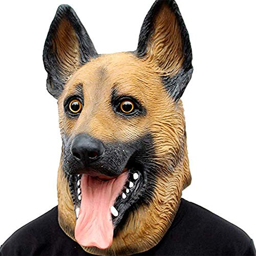 Lixinfushi Hund Halloween Maske, Tier Latex Kopf Maske Für Halloween Kostüm, Neuheit Halloween Kostüm Party Latex Hund Kopf Maske (Deutscher Schäferhund)