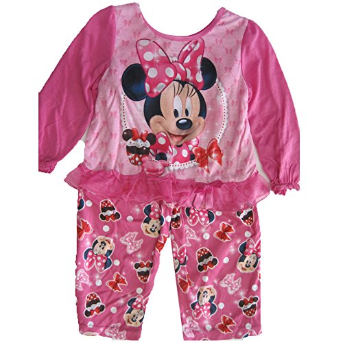 Disney Little Girls Pink Minnie Mouse Trimmed 2 Pc Pajama Set 2T-4T