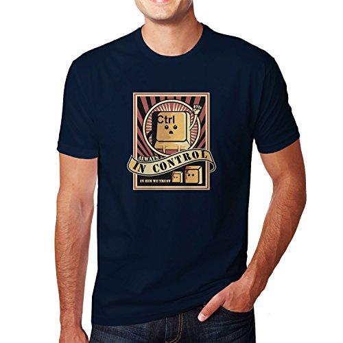 Planet Nerd Always in Control - Herren T-Shirt Dunkelblau