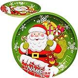 Unbekannt großer Teller / Plätzchenteller - Weihnachtsmann & Geschenkesack - inkl. Name - Ø 26,5 cm - rund - Mehrweg - Blech / Metall - Weihnachtsteller / Keksteller - ..