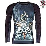 Tatami Rashguard Cyber Gentle Panda - Langarm - Herren Rash Guard für Jiu Jitsu, Fitness, Grappling und MMA - Kompressions Shirt mit 4-Wege Stretch und ultracoolem Artwork Design (L)