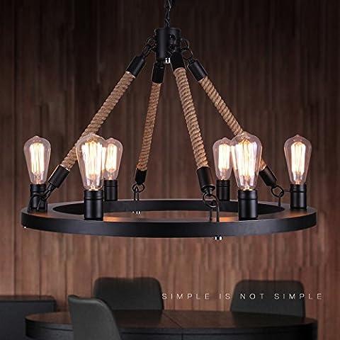 ZSQ American retrò lampadari industriali retrò lampadario in ferro illumina Ciondolo retrò pendente corda luce L lo spago #100 - Mason Spago