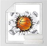 VYEKL Biancheria da Letto Coperta soffice Coperta da Calcio Sherpa Coperta da Basket per Letti 3D Coperta Sportiva Mattoni incrinati Lettiera da Parete 150 * 200 cm