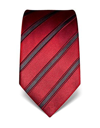 Vincenzo Boretti Herren Krawatte aus reiner Seide, gestreift weinrot