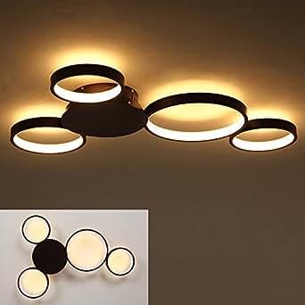 Dimmbar LED Deckenleuchte Wohnzimmer Deckenlampe Schlafzimmer Modern  Aluminium Lampe mit Fernbedienung, Rund 4 Ringe Design, Wohnzimmerleuchte  ...