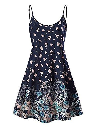 MSBASIC Ärmelloses, verstellbares Riemchensommer Strand Swing Kleid für Damen, Three, L