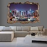 murando - 3D WANDILLUSION 140x100 cm Wandbild - Fototapete - Poster XXL - Loch 3D - Vlies Leinwand - Panorama Bilder - Dekoration - New York Stadt d-C-0056-t-a