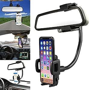 Yhom Handyhalterung Auto Innenspiegel Smartphone Halterung 360 Grad Winkel Verstellbar