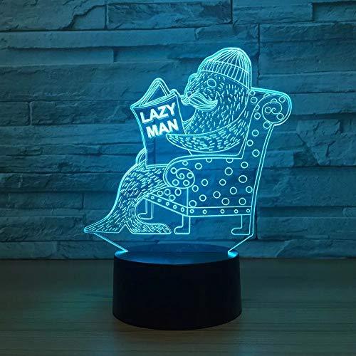 Les lumières d'illusion optique de wangZJ/lumière de nuit 3d pour enfants / 7 couleurs changeant d'éclairage de sommeil/cadeau de Halloween/homme paresseux
