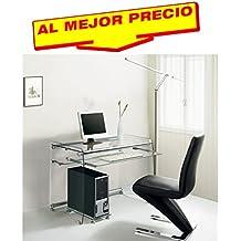 MESA DE OFICINA Y ESTUDIO ESCRITORIO CRISTAL 90X55CM CON SOPORTE DE TECLADO ACABADO TRANSPARENTE MODELO NAVAN- OFERTAS HOGAR Y OFICINA -¡AL MEJOR PRECIO!