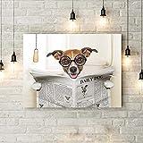 MLSWW Lienzo Pintura Decorativa Divertido Perro Lienzo Arte póster Impresiones Loco Tonto Perro Sentado en el Inodoro y Leyendo Revista Pintura baño Pared Arte decoración-50x70cm