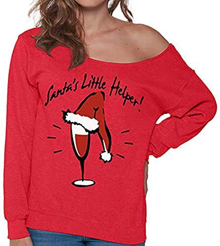 Honestyi Damenmode Weihnachten Brief Print Langarm Bluse Sweatshirt Tops Blous(Rot,XL)