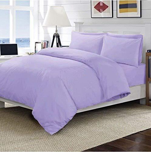 Sunshine Komfort® 100% ägyptische Baumwolle Fadenzahl 200uni flach Bed Sheet Single Double King Super King, Lilac, Housewife Pillow Pair