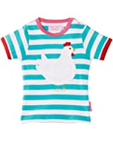 Toby Tiger Girl's Organic Short Sleeve Chick Applique Striped T-Shirt