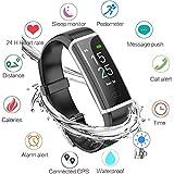 WISHDOIT Fitness Tracker, Aktivitäts Tracker Armband mit Pulsmesser wasserdichte IP67 Fitness Uhr, Schlafmonitor Schrittzähler Kalorienzähler für Damen Herren Anruf SMS SNS Push für iOS Android Phone