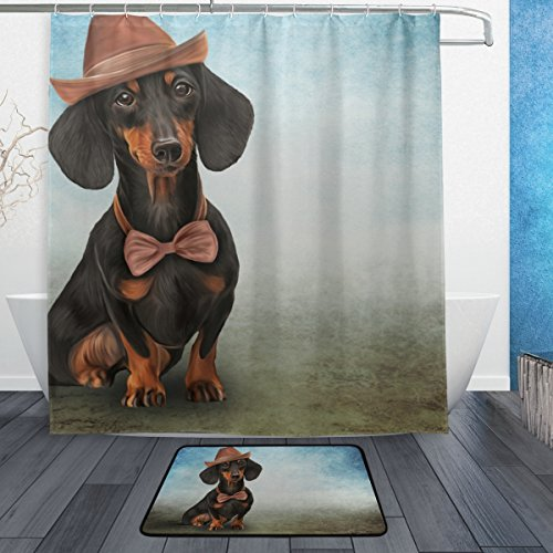 My Daily Dackel Hund in Cap Duschvorhang 167,6x 182,9cm mit Badteppich Teppich & Haken, schimmelresistent & Wasserdicht Polyester Dekoration Badezimmer Vorhang Set