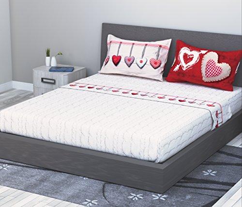 Completo Sábanas en 100% Algodón Para Cama de Matrimonio 2Plazas 4Piezas Modelo Corazón de lana rojo