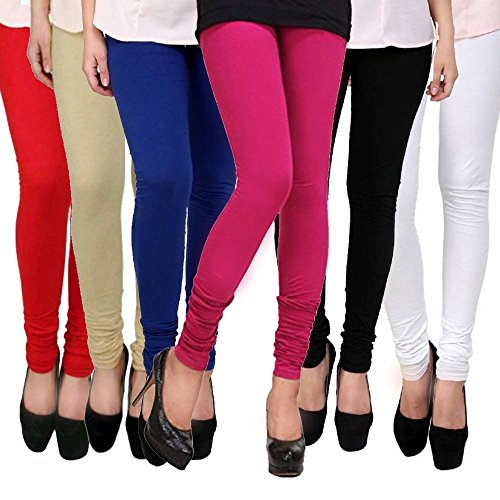 Lili Women\'s Cotton Lycra 140 GSM 4 Way Stretchable Free Size Churidar Leggings Combo (Pack-6) - Red,Blue,Black,White,Pink,Skin