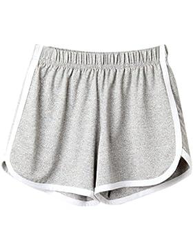 DOGZI Mujer Pantalones Cintura Color Sólido Mujer Deporte Corriendo FormacióN Tres Minutos De Pantalones Dormir...