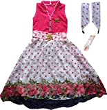 Cute Fashion Kids Girls Baby Princess Popcorn Net Party Wear Flower Dresses Clothes 3 Months to 7 Years (Pink, 6-7 Years)