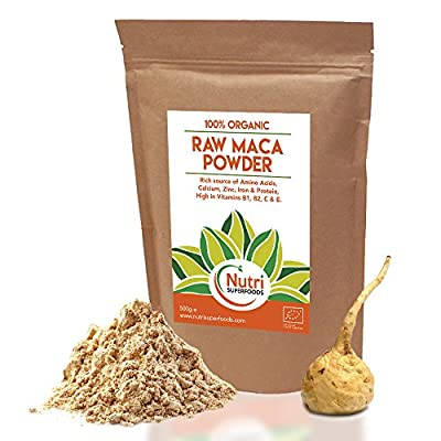 ORGANIC RAW Maca Powder, Premium Quality Vegan Superfood, Promotes Fertility for Men and Women, Balances Hormones, Mood Swings, Menopause, Boosts Energy, Improves Stamina, Reduces Stress & Anxiety, High in Amino Acids, Vitamins B1,B2,B6, Calcium, Iron and
