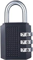 145/20 C 20mm Body 3 Dial Resettable Combination Padlock, Black