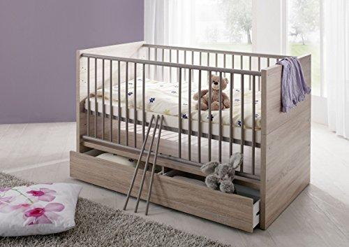 Dreams4Home Babybett 'Liss', Kinderbett Gitterbett Juniorbett Babyzimmer Bett Kinderzimmer, Sonoma Eiche sägerau -