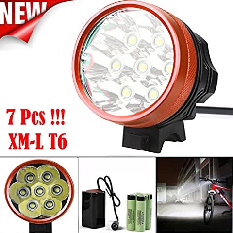 Bicycle Light, TopTen 7x T6 LED 7000 Lumens 3 Modes Ultra Bright Bike LED Headlamp Head Flashlight with Rechargeable Battery and Charge -