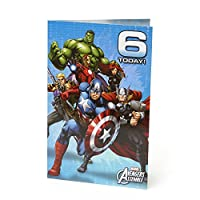 Age 6 Birthday Card - Avengers Birthday Card Featuring Hulk, Iron Man, Thor, Captain America, Black Widow, Hawk Eye - 6th Birthday, Ideal Gift Card for Kids - Marvel