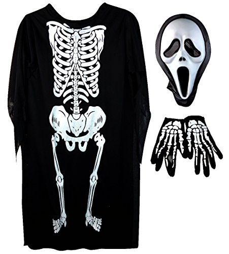 Halloween Kostüme Cartoon (Mangotree 3Pcs Halloween Unisex Schädel Skelett Geist Kostüm Schreien Ghost Maske Maskerade Cartoon Cosplay Requisiten Kleidung für Erwachsene / Kinder - Halloween Party - Skelett (Kinder,)