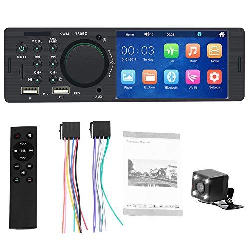"""Universal Car MP5 Player Autoradio 1 Din Autoradio mit 4.1""""Bildschirm und Rückfahrkamera, Autoradio mit Bluetooth und USB Schnelle Aufladung, AM/FM, TF Port, Aux In, SWC Fernbedienung"""