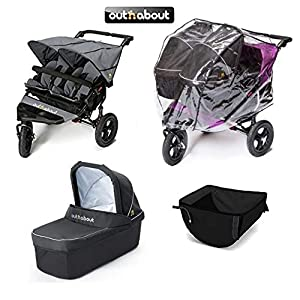 Out 'n' About V4 Nipper Double/2 x Carrycots/Basket/XL Raincover - Steel Grey   13