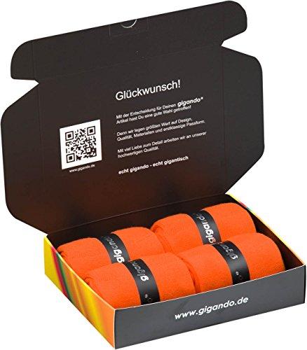 gigando | colorful Baumwoll-Socken | kräftige Farben für Damen und Herren | Hand gekettelt | extra feines Maschenbild | trendige unifarbene Strümpfe | 4 Paar | orange | 43-46 | (Mikrofaser-crew-socken Crew)