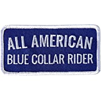 Hot Leathers, ALL AMERICAN BLUE COLLAR RIDER, Iron-On / Saw-On Rayon PATCH toppa - 4
